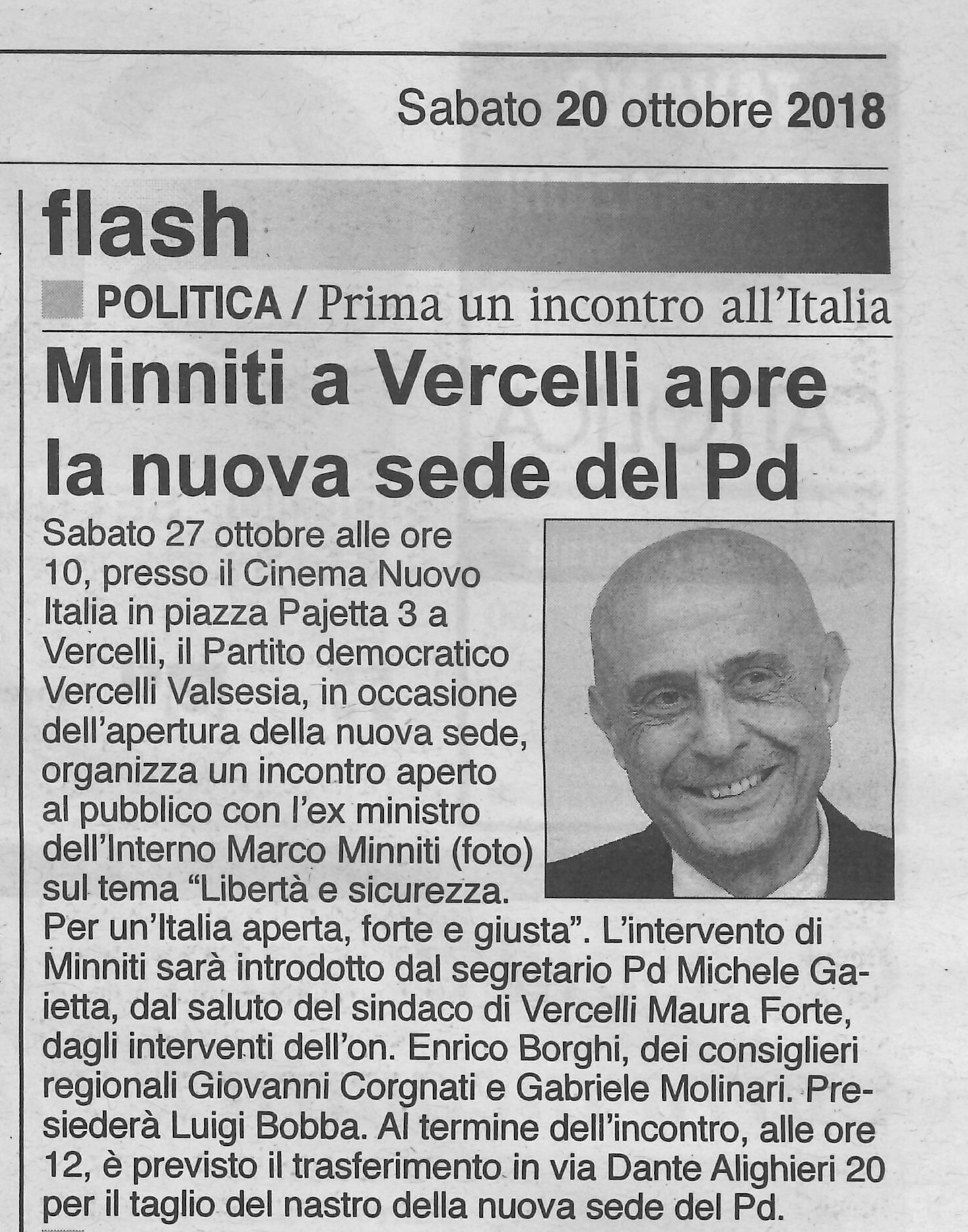 Minniti a Vercelli apre la nuova sede del PD