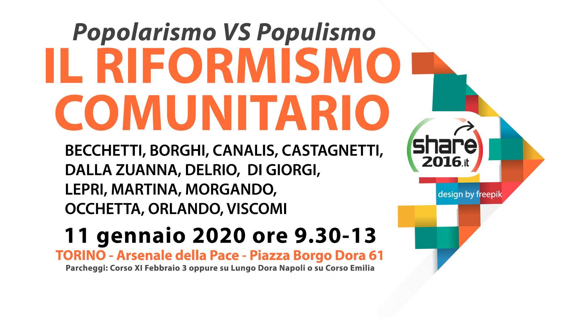 Il riformismo comunitario – Popolarismo VS Populismo. Torino, 11 gennaio 2020