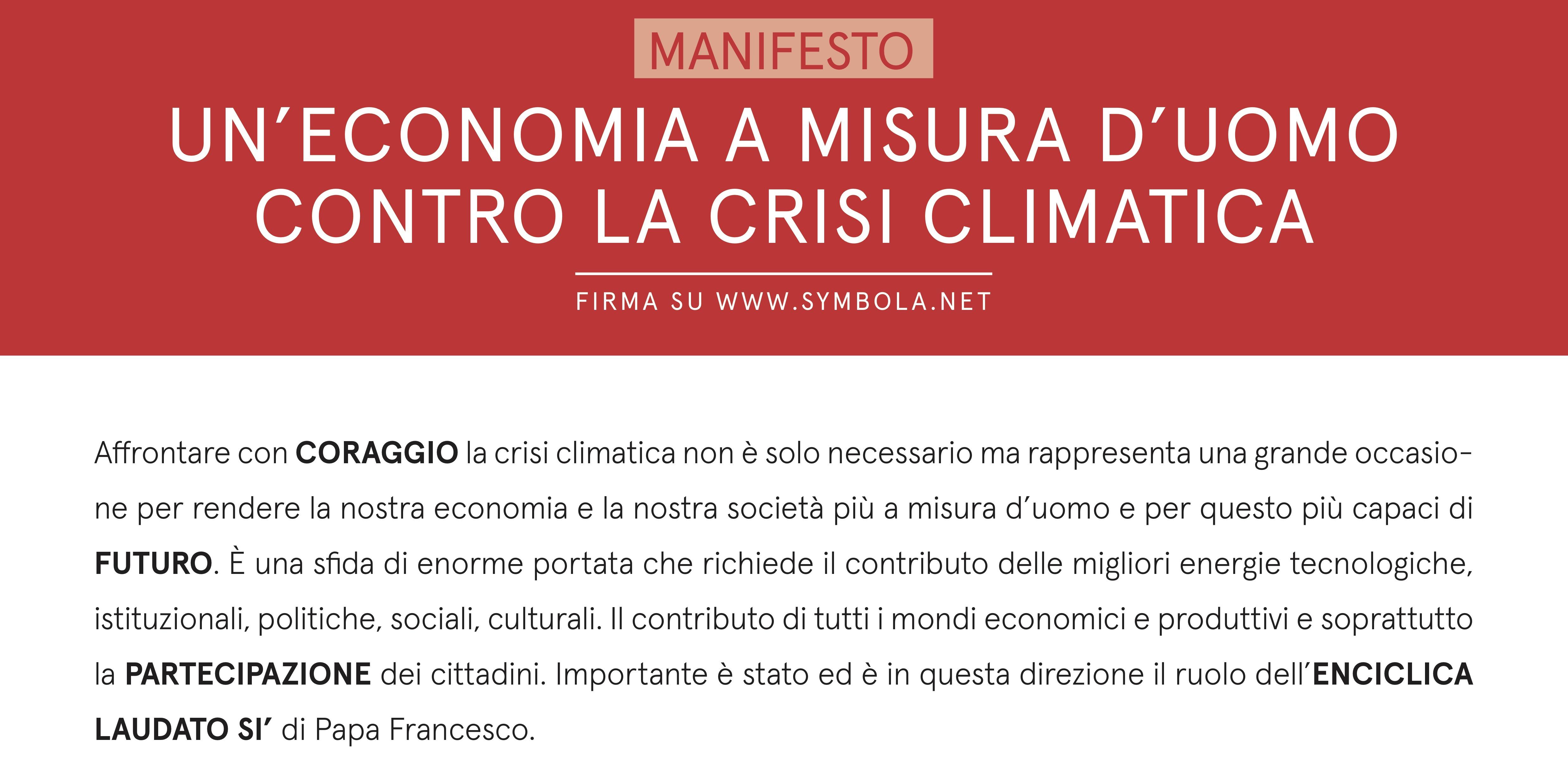 MANIFESTO: UN'ECONOMIA A MISURA D'UOMO CONTRO LA CRISI CLIMATICA