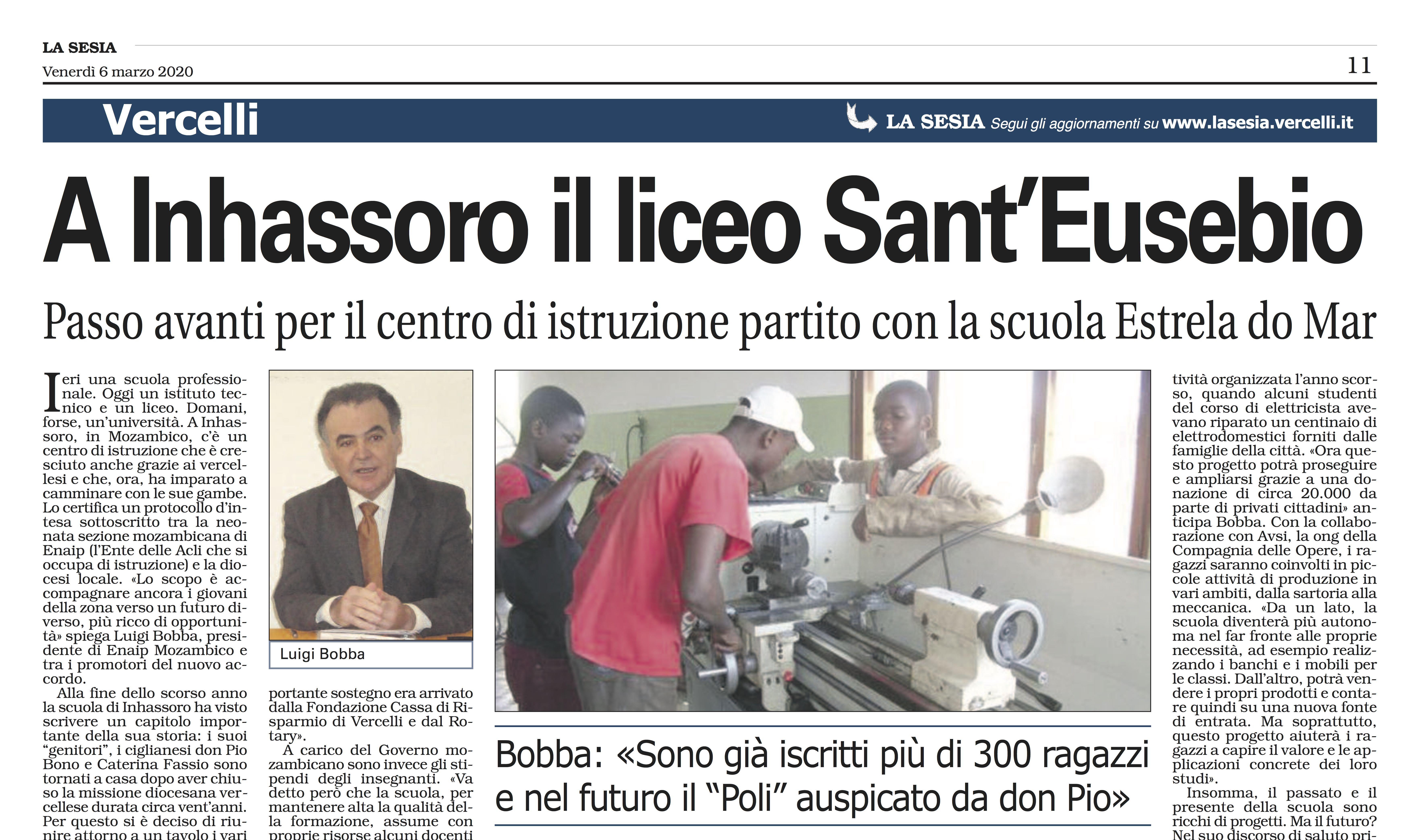 A Inhassoro il liceo Sant'Eusebio