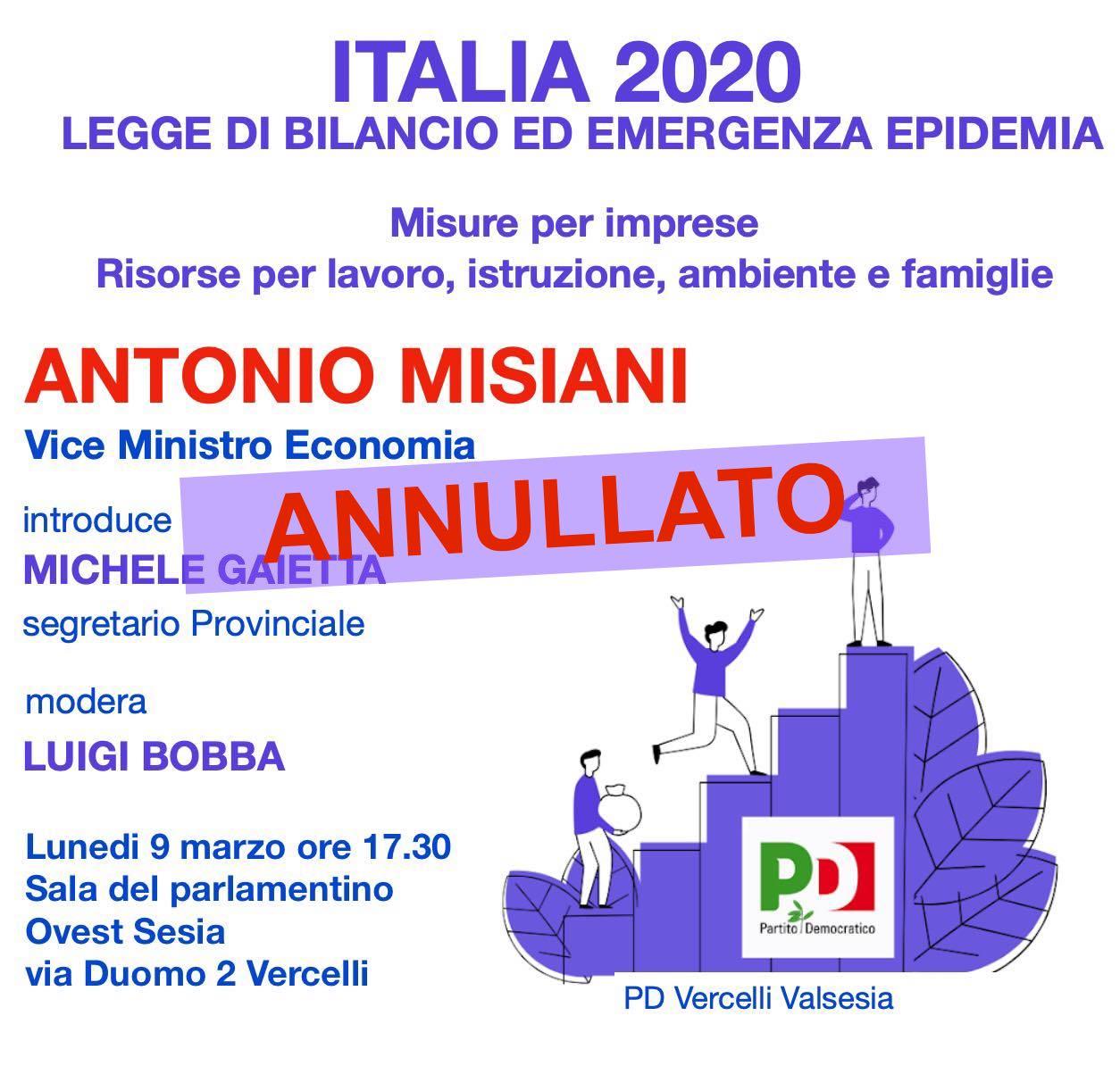 Rinviato a data da destinarsi l'incontro con il vice Ministro dell'Economia Antonio MISIANI
