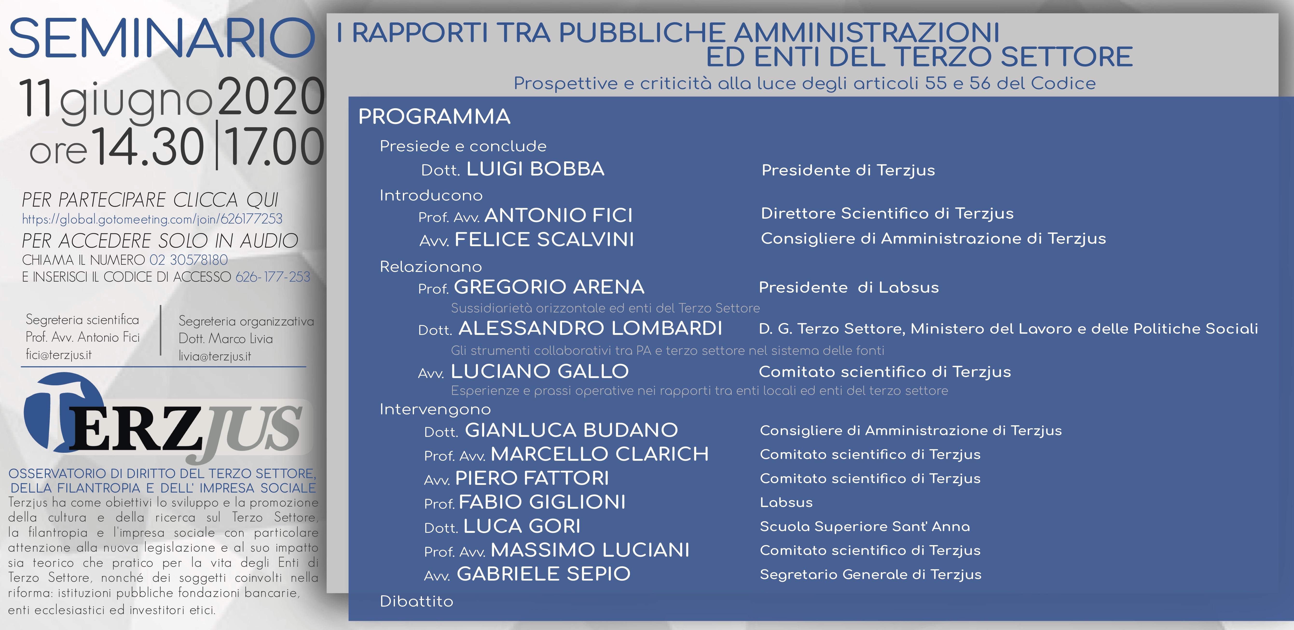 Rapporti tra le PA e gli enti del Terzo settore, un seminario online