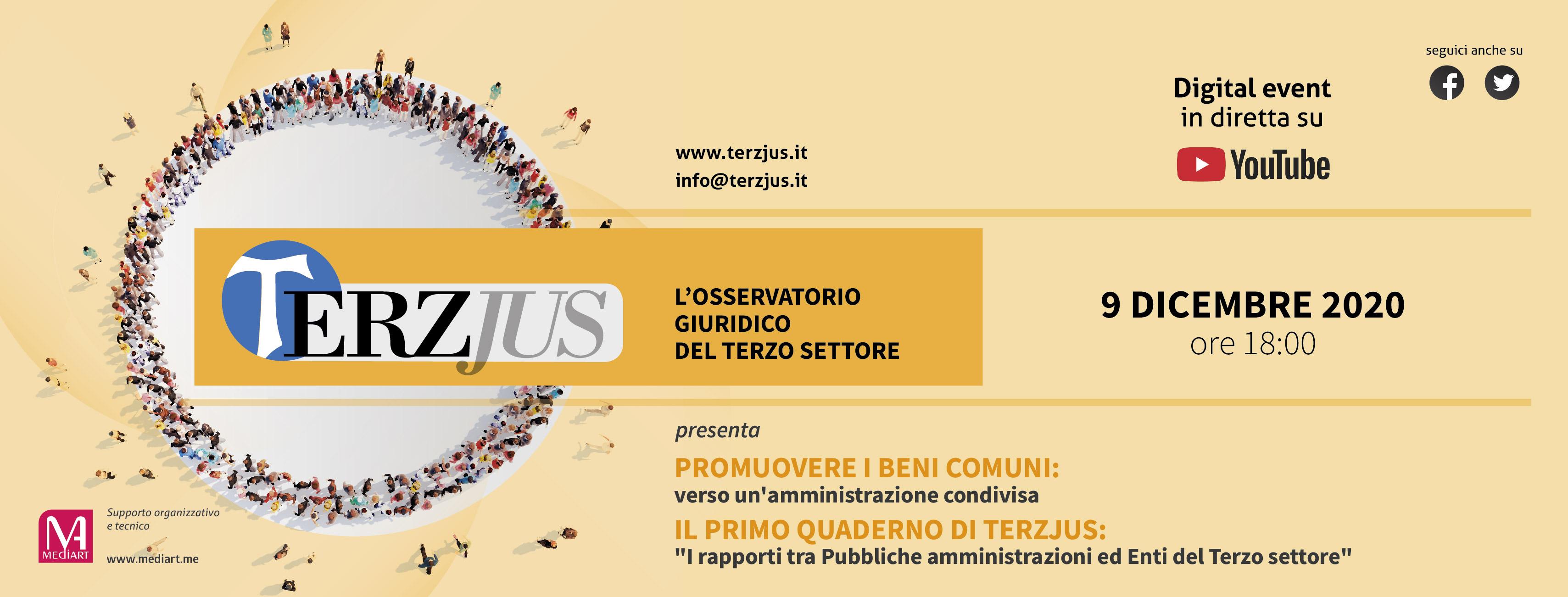 """Terzjuswebinar """"Promuovere i beni comuni: verso un'amministrazione condivisa"""", 9 dicembre ore 18"""