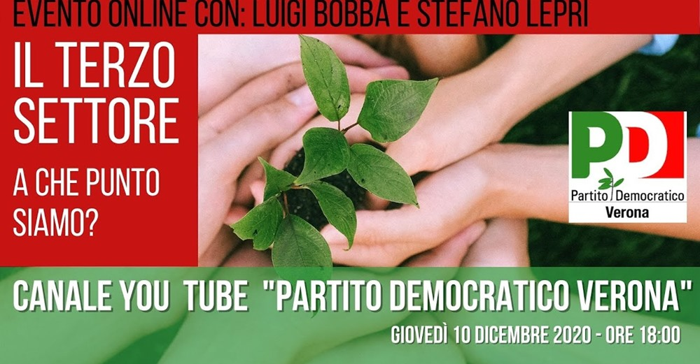 """Luigi Bobba relatore all'evento di PD Verona""""Il Terzo settore: a che punto siamo?"""", 10 dicembre ore 18"""