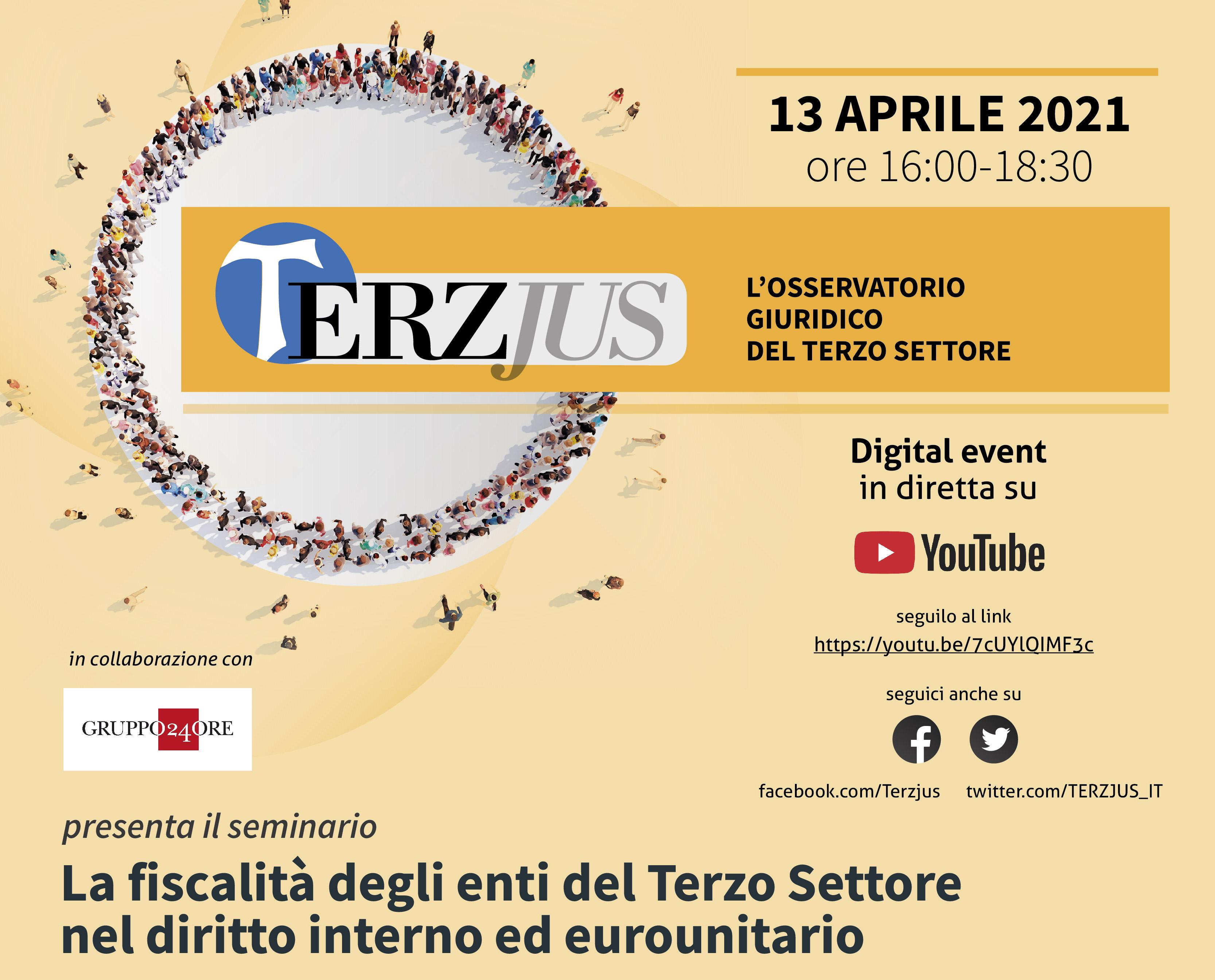 """""""La fiscalità degli enti del Terzo Settore nel diritto interno e comunitario"""" Terzjus webinar, 13 aprile ore 16"""