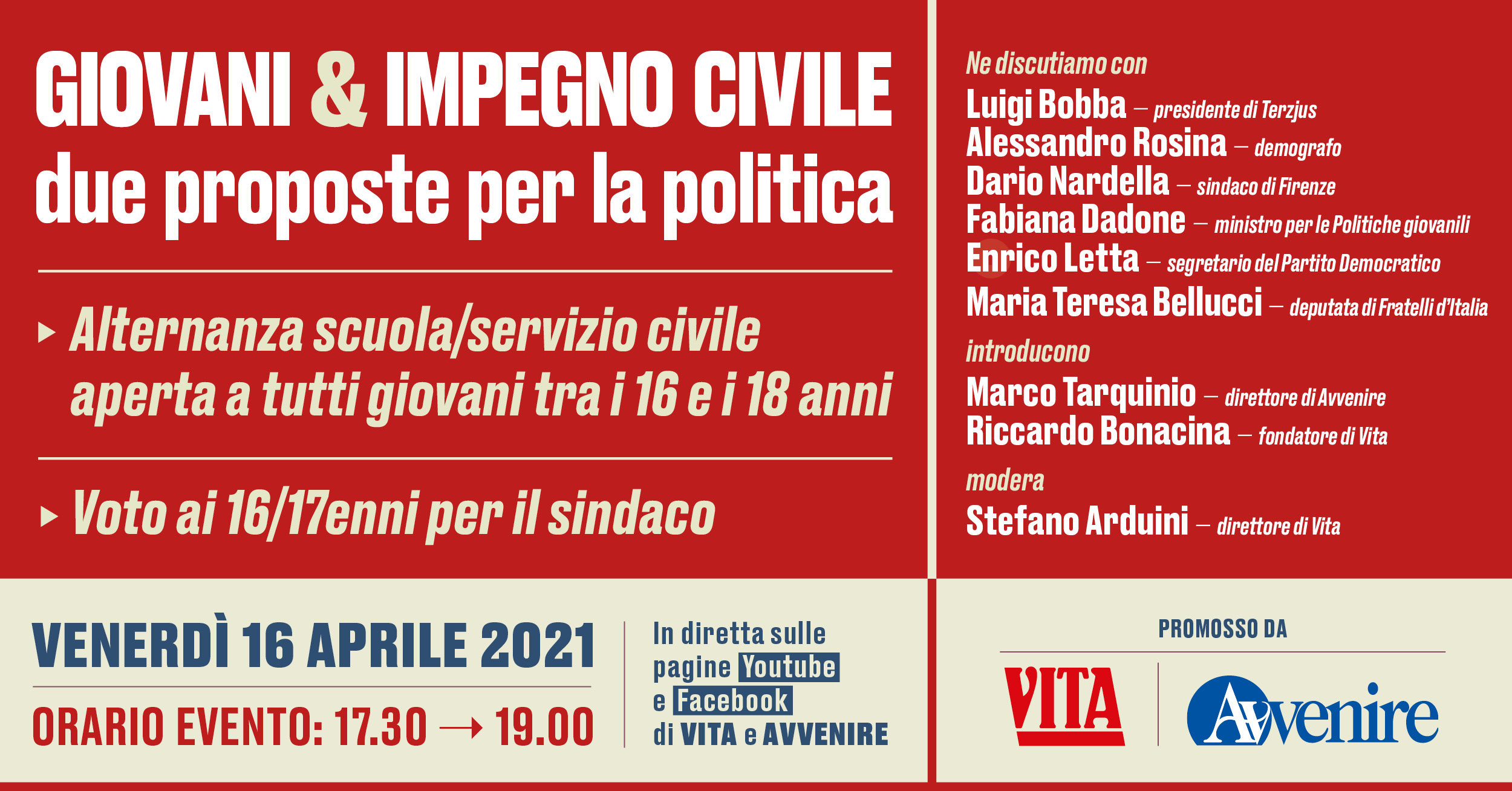 """""""Giovani & impegno civile: due proposte per la politica"""", venerdì 16 Aprile 2021"""
