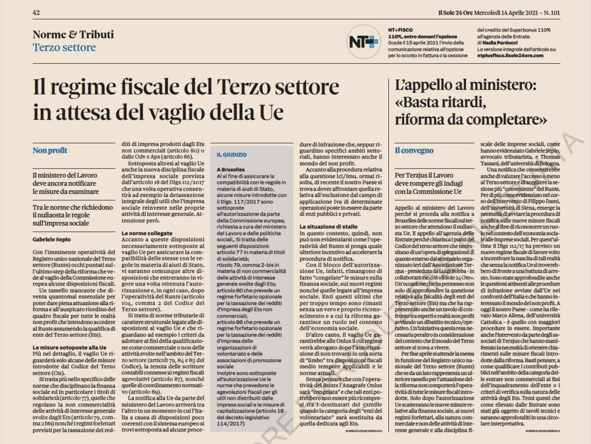 Il regime fiscale del Terzo settore in attesa del vaglio della Ue