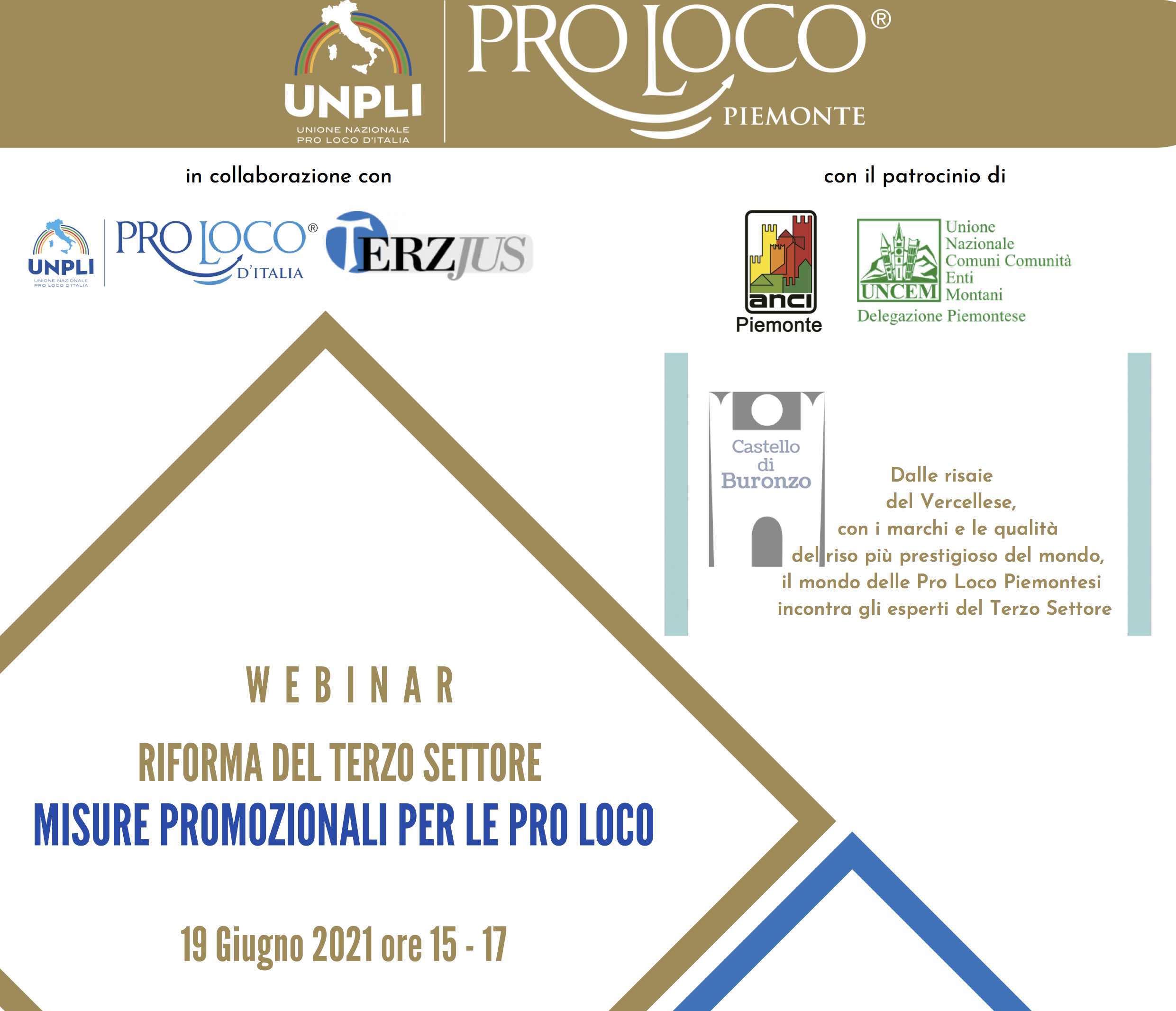 """""""Riforma del Terzo settore e misure promozionali per le Pro Loco"""" webinar 19 giugno"""