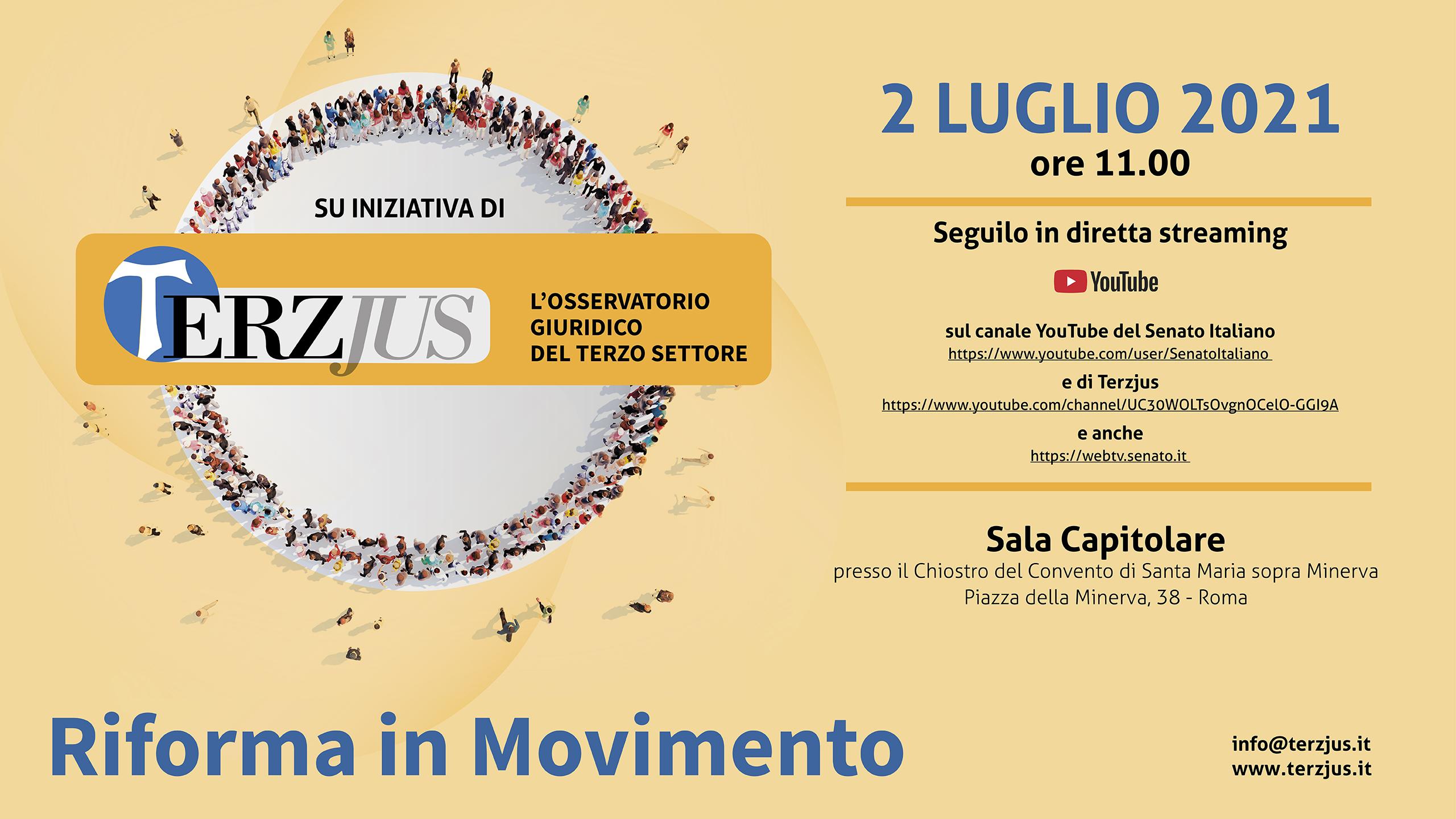 Presentazione del TerzjusReport 2021 – Roma, 2 Luglio ore 11